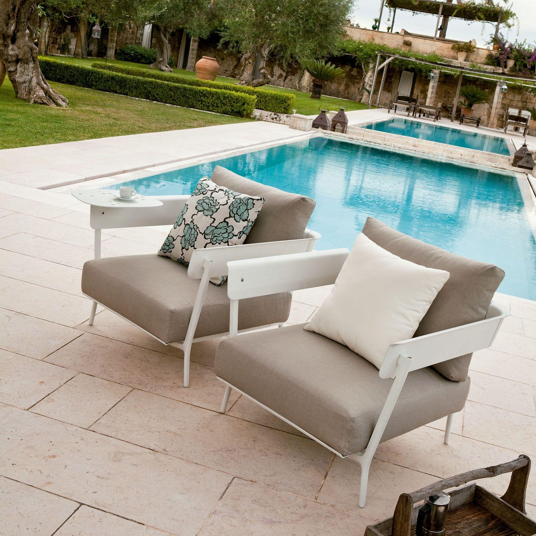 aikana confortable silln en aluminio lacado para espacios exteriores