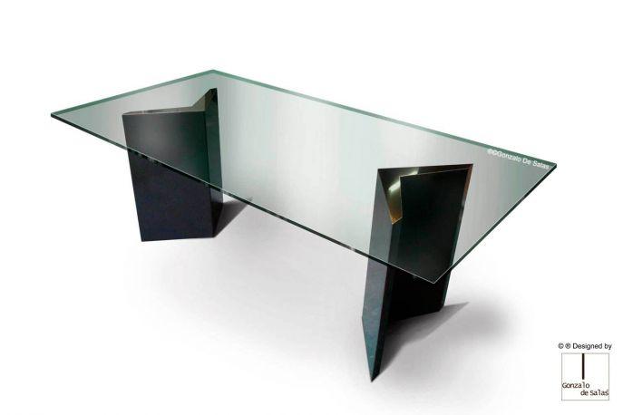 Mesa HUALAPAI Comedor 200x100x73 cm Negro metalizado de Gonzalo de Salas