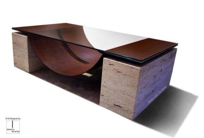 Mesa de centro Mallorca. Gonzalo de Salas. Acero corten y mármol travertino. Medidas 130x70x38 cm.