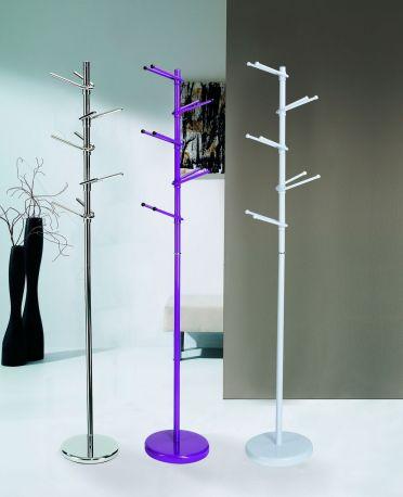 Perchero moderno Segovia Dissery en cromo brillo, violeta y blanco