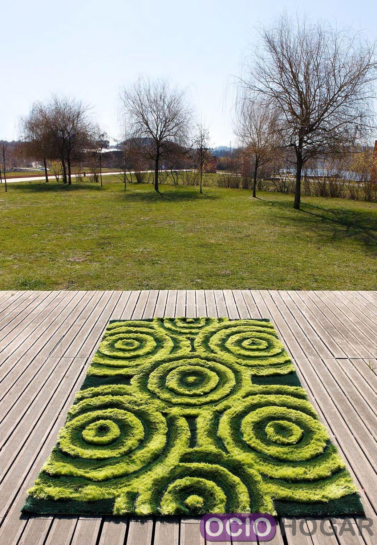 alfombra moderna 3d bubbles verde carving