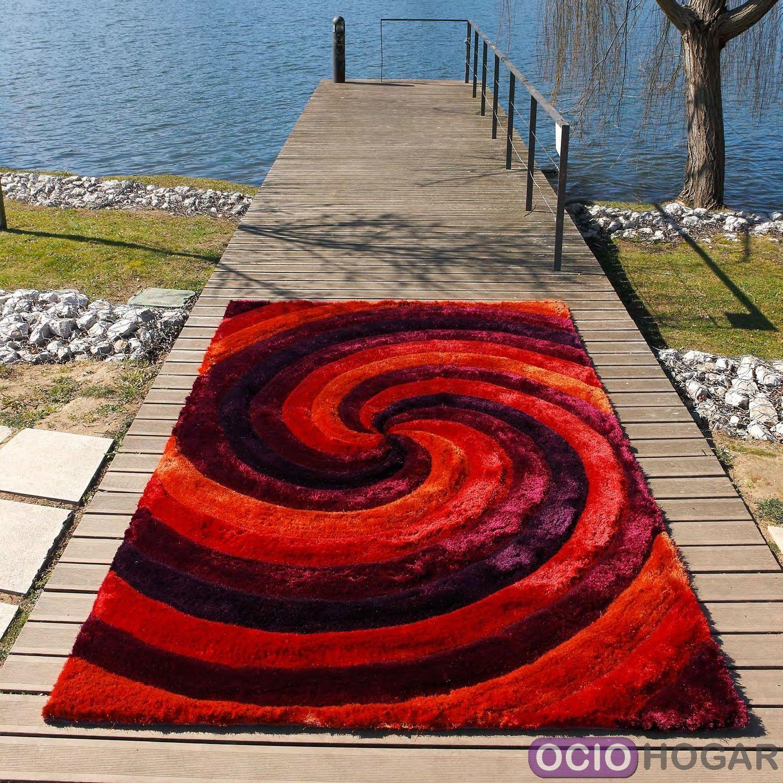 Alfombra moderna 3d ciclone carving roja - Alfombras lana modernas ...