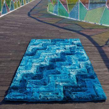 Alfombra moderna 3D Waves azul