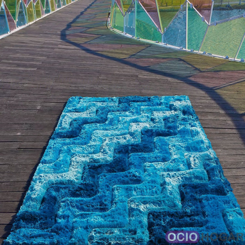 Alfombra Moderna 3d Waves Azul Carving