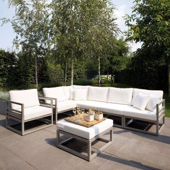 Conjunto sofá y mesa de jardín aluminio Francia