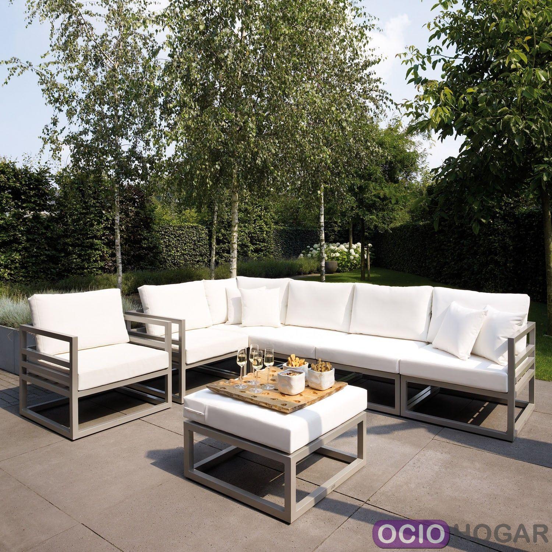 Sofá y mesa de jardín aluminio Francia Majestic Garden - OcioHogar.com