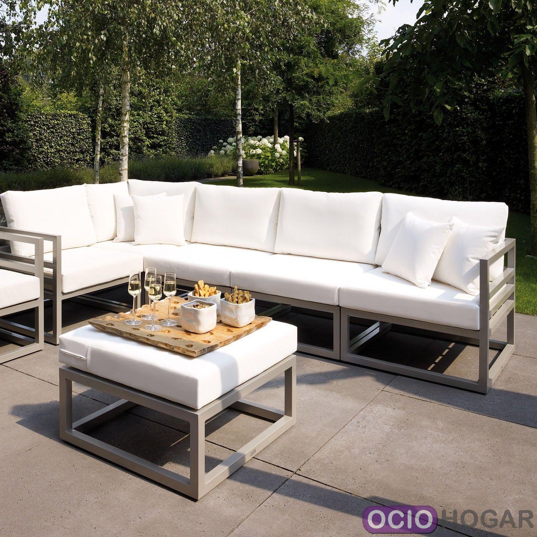 Sof y mesa de jard n aluminio francia majestic garden - Mesas de jardin de aluminio ...