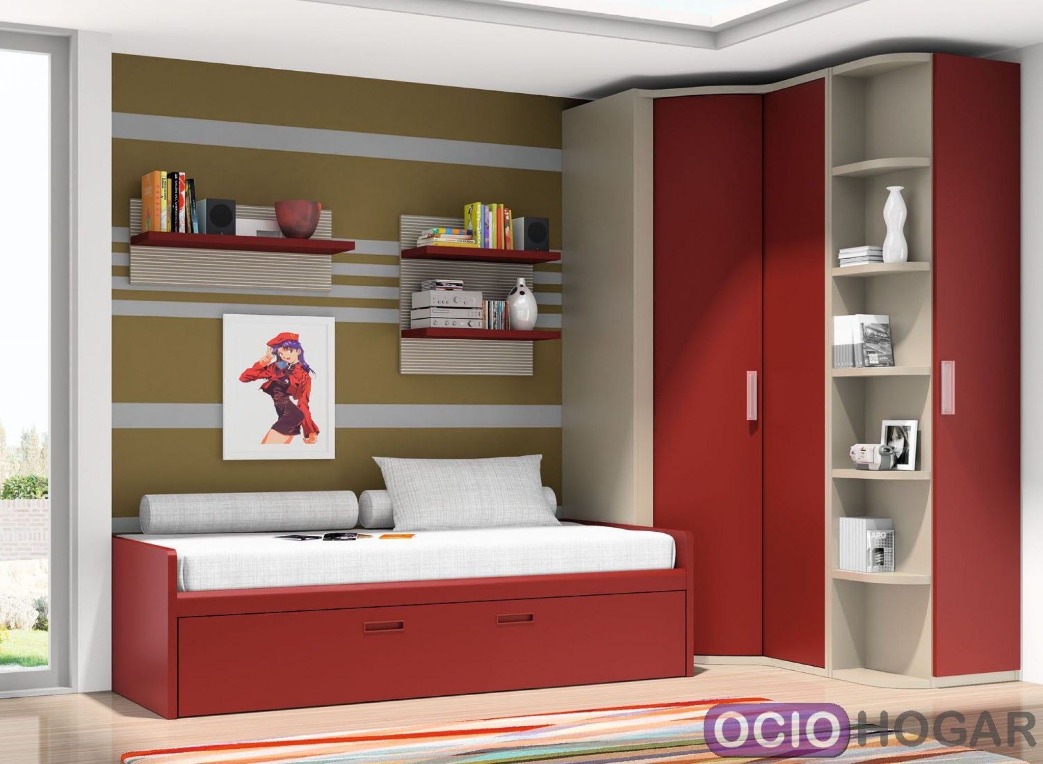 Dormitorio juvenil cabernet dissery muebles juveniles Dormitorio juvenil en l