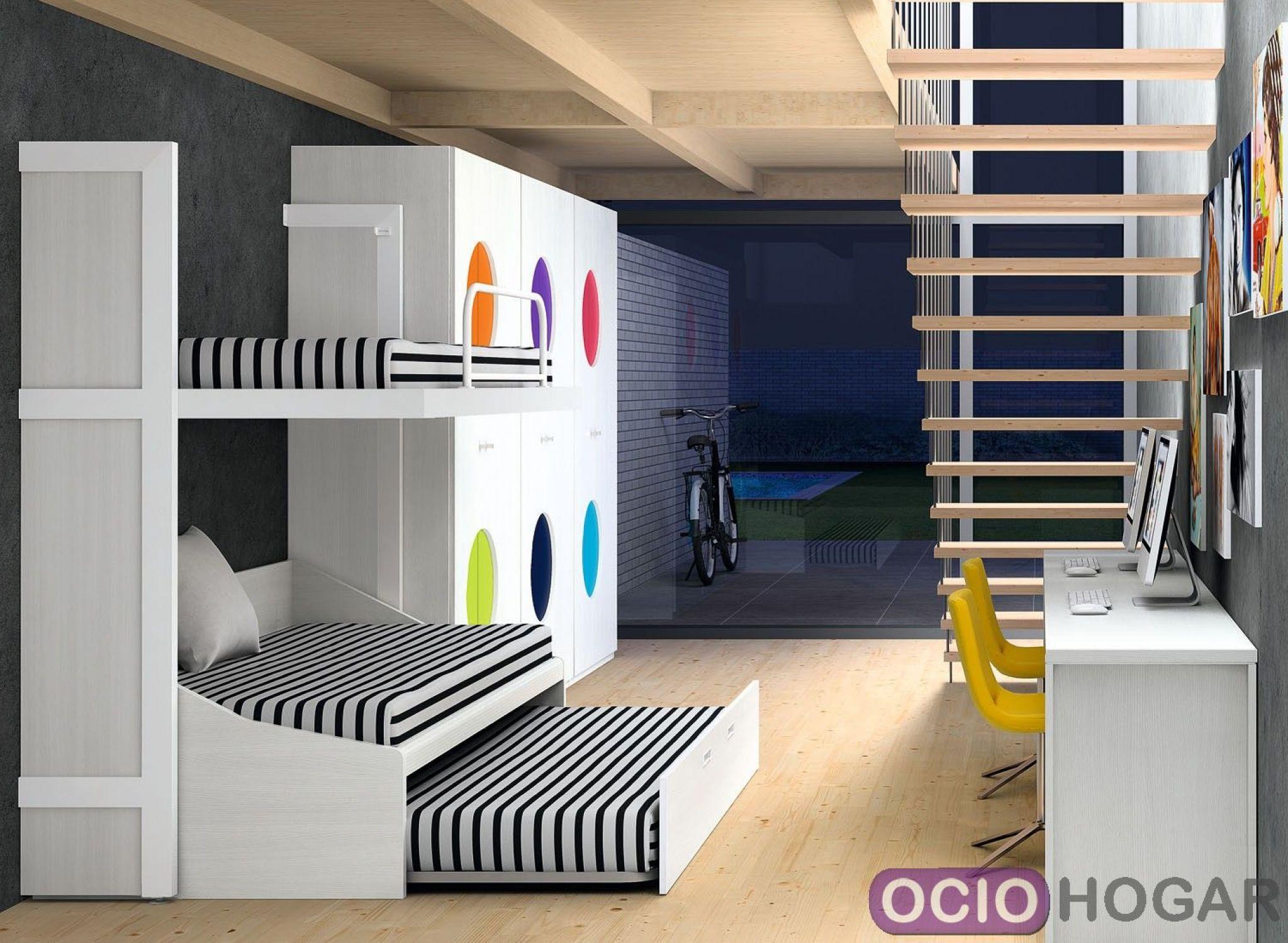 Dormitorio juvenil nautilus de dissery muebles en for Literas originales para un cuarto juvenil