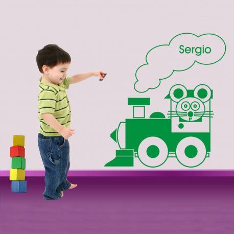 Vinilo decorativo infantil Locomotora Ratonzuco de DEKOTIPO